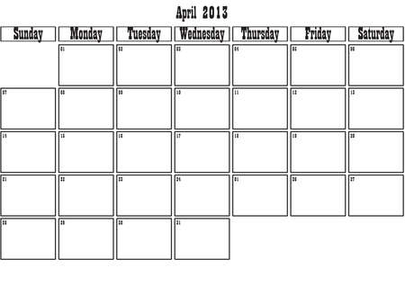 April 2013 planner Stock Vector - 15805086