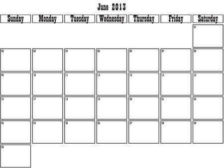 June 2013 planner Stock Vector - 15805087