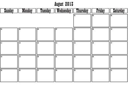 August 2013 planner Stock Vector - 15805093