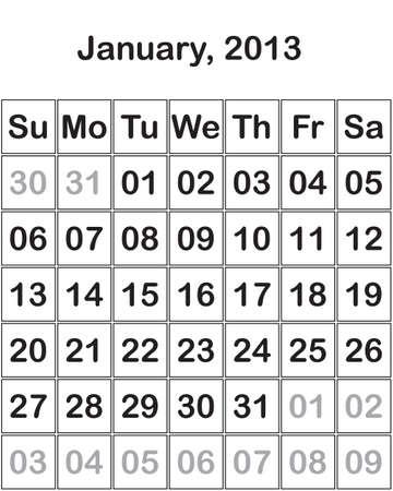 month January2013 Calendar Stock Vector - 15805111