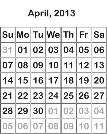 month April 2013 Calendar Stock Vector - 15805102