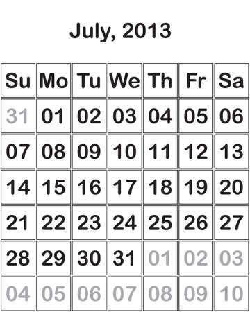 month July 2013 Calendar Stock Vector - 15805099