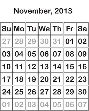 month November 2013 Calendar Stock Vector - 15805119