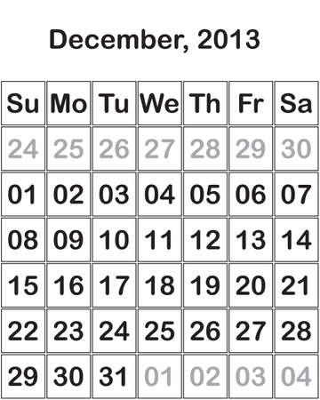 month December 2013 Calendar Stock Vector - 15805120