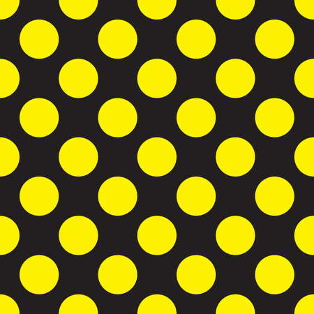 Yellow dots on black seamless background Vector