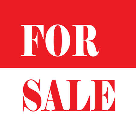 for sale sign: FOR SALE SIGN WHITE ON RED AND RED ON WHITE