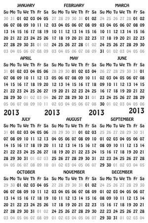 2013 Calendar Black Leters on Transparency Background Stock Vector - 16889086
