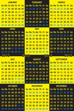 2013 Calendar Black on Yellow and Yellow on Black with ghosty days of the other months Stock Vector - 16889084
