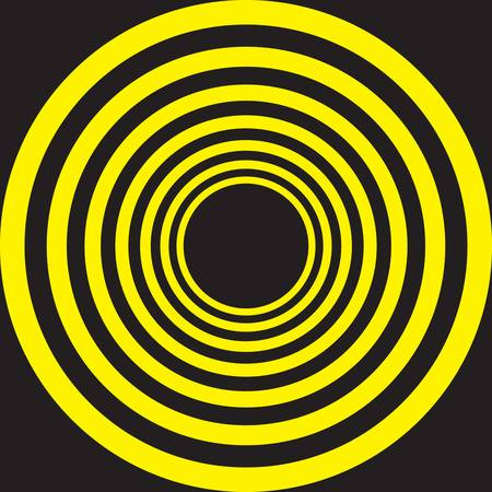 spring roll: Hypnotic Yellow on Black descending concentric circles
