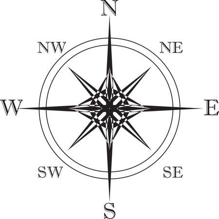 cardinal: Cardinal Points star in black and white - big eps file Illustration