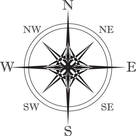 puntos cardinales: Puntos estrella Cardenal en blanco y negro - eps grande Vectores