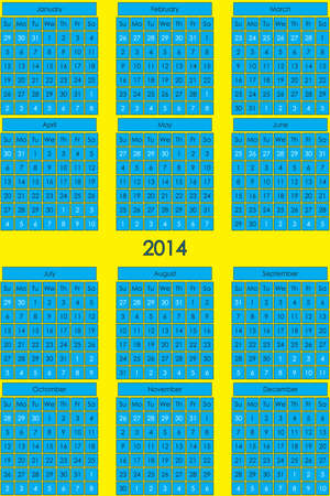CALENDAR 2014 blue background for day on yellow general background Vector