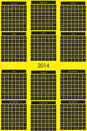 CALENDAR 2014 black background for day on yellow general background Vector