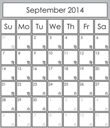 Planner September 2014 with zodiac signs Virgo & Libra Vector