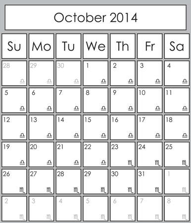 Planner October 2014 with zodiac signs Libra &amp, Scorpio Stock Vector - 18131177