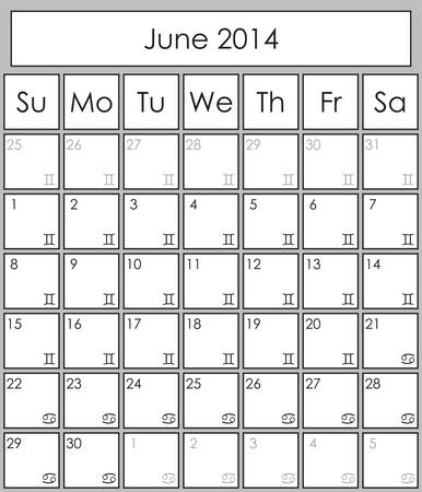 Planner June 2014 with zodiac signs Gemini &amp, Cancer Vector