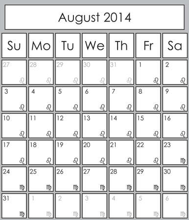 Planner August 2014 with zodiac signs Leo & Virgo Vector