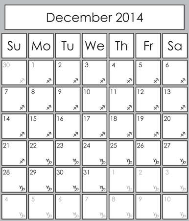 Planner December 2014 with zodiac signs Sagittarius & Capricorn Vector
