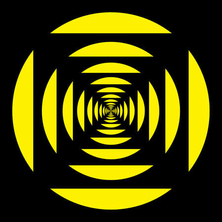 Attention sign falling into the tunnel yellow on black Stock Vector - 18310768