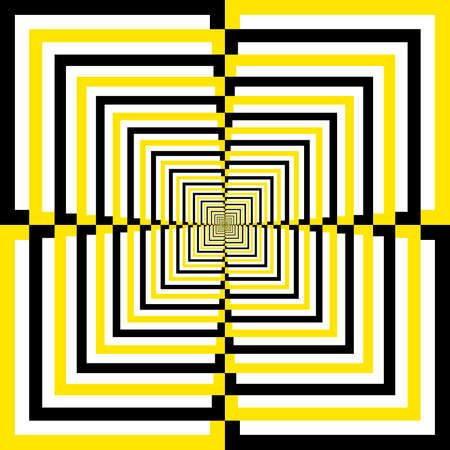 Black White Yellow alternating quartersquares perspective background Stock Vector - 18460120