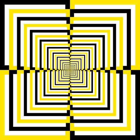Black White Yellow alternating quartersquares perspective background Stock Vector - 18460120
