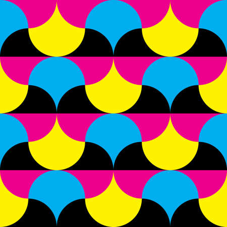 Cyan, magenta yellow, black hypnotic shapes background Stock Vector - 18996638