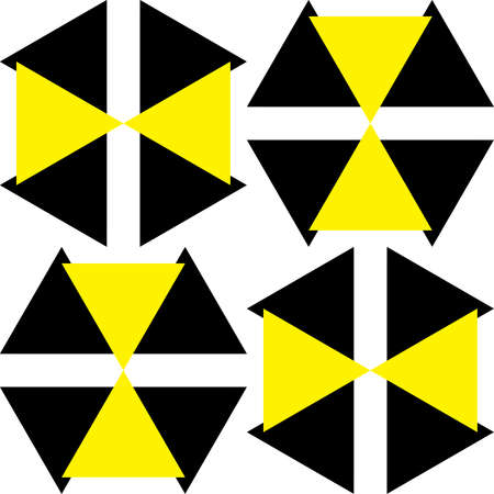yellow attention: Black and Yellow Attention Hazard sign x4 asimetric Illustration