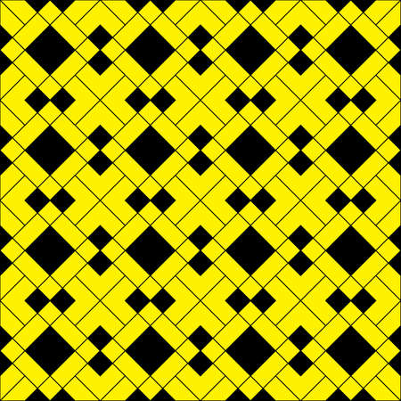 Yellow diamond square based arabesque background on black Stock Vector - 19166055
