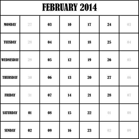 2014 FEBRUARY Planner Calendar Stock Vector - 19750500