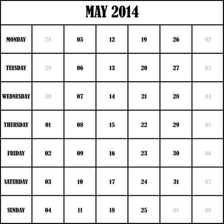 2014 MAY Planner Calendar Vector