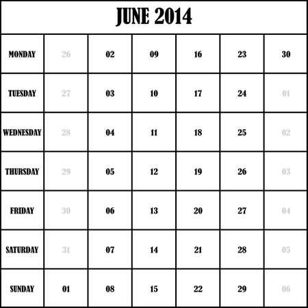 2014 JUNE Planner Calendar Vector