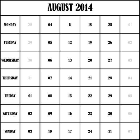 2014 AUGUST Planner Calenda Stock Vector - 19750499