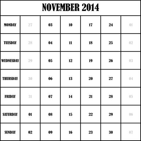 2014 NOVEMBER Planner Calendar Vector