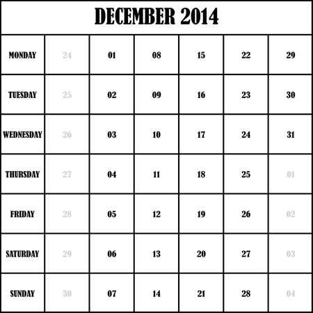 2014 DECEMBER Planner Calendar Vector