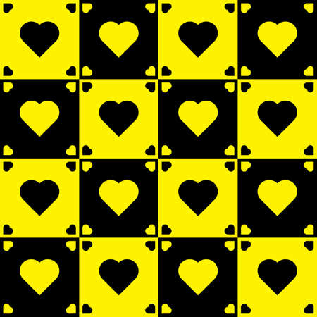 Yellow and black hearts on black and yellow background Vector