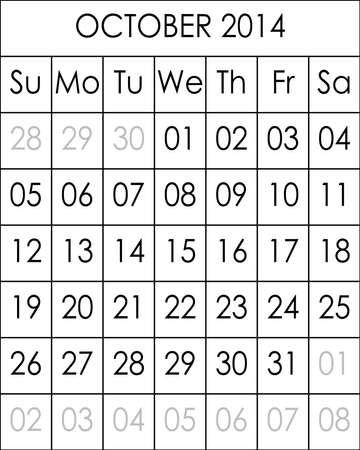 kalender oktober: Planner Calendar October 2014  big eps file