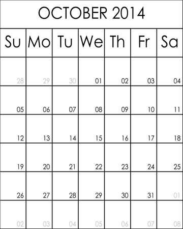 kalender oktober: Aanpasbare Planner Kalender oktober 2014