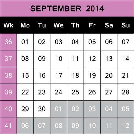 September 2014 Calendar Planner with number for each Weak  ISO - 8601 Stock Vector - 21314716