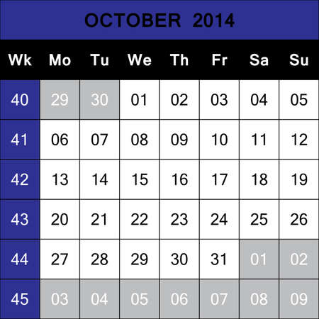 October 2014 Calendar Planner with number for each Weak  ISO - 8601 Vector