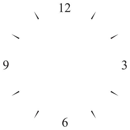 clock dial black 12 3 6 and 9 signs Illustration