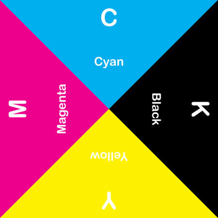 explicit: CMYK Cyan Magent Yellow Black explicit rotatyng swatch Illustration