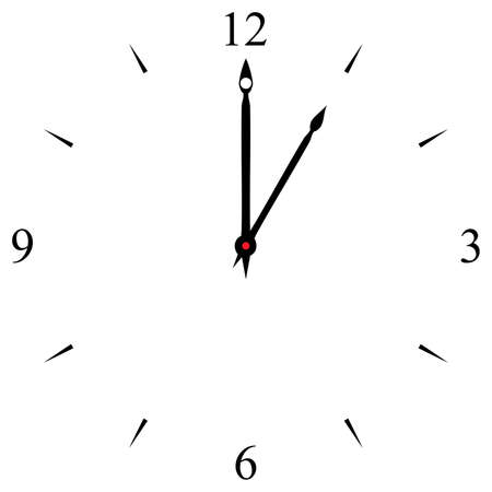 12 oclock: clock dial black 12 3 6 and 9 signs at one oclock Illustration