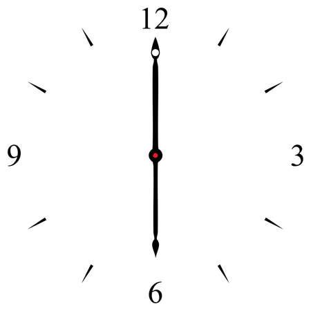 12 o'clock: clock dial black 12 3 6 and 9 signs at six oclock