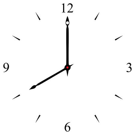 clock dial black 12 3 6 and 9 signs at eight o'clock Illustration