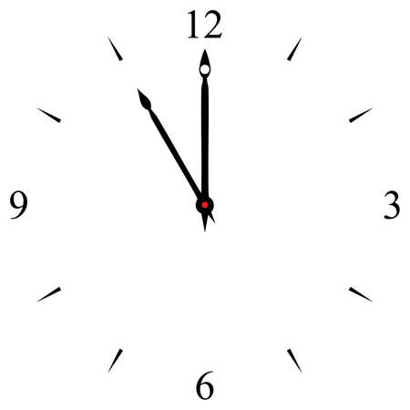 12 o'clock: clock dial black 12 3 6 and 9 signs at eleven oclock Illustration