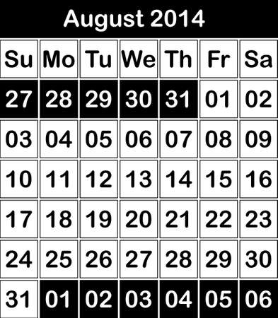 August 2014 Black and White calendar Vector