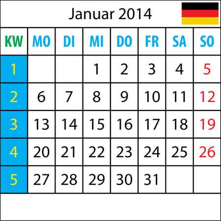 deutsch: Mondkalender, Januar 2014, Deutsch, mit Zahl der Woche Illustration