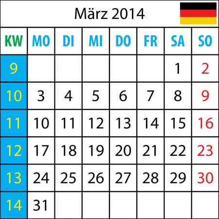deutsch: Mondkalender, Mondkalender, Maertz 2014, Deutsch, mit Zahl der Woche Illustration