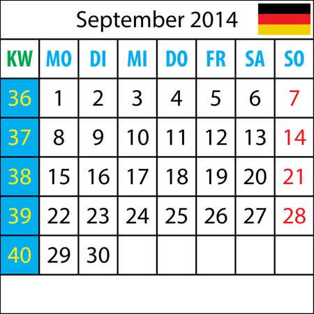 deutsch: Mondkalender, September 2014, Deutsch, mit Zahl der Woche Illustration