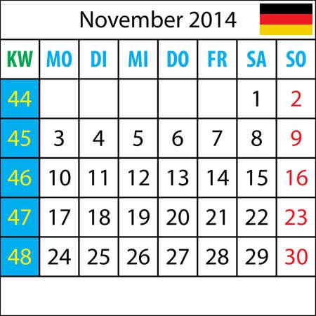 deutsch: Mondkalender, November 2014, Deutsch, mit Zahl der Woche